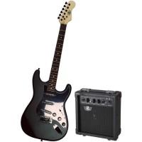 LEGEND Pack Guitare Type Stratocaster Black Mat