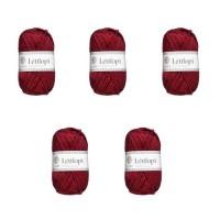 LETTLOPI Lot de 5 Pelotes de laine - Rouge foncé