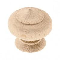 Lot de 2 boutons de meuble - Ø 30 mm - Bois naturel