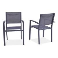 Lot de 2 fauteuils en aluminium - 57 x 56 x 87 cm - Gris