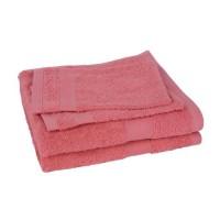 Lot de 2 serviettes + 2 gants ELEGANCE corail