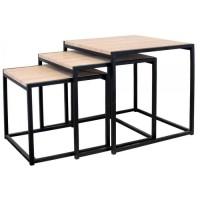 Lot de 3 Tables carrées gigognes - L 45 x P 45 x H 45 cm