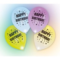 Lot de 4 Ballons avec LED - Latex - Happy Birthday - 27,5 cm