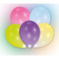 Lot de 5 Ballons avec LED - Latex - 27,5 cm - Coloris assortis