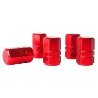 Lot de 5 Bouchons de valve - Aluminium - Rouge