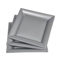 Lot de 6 assiettes carrées jetables 21,5x21,5 cm gris