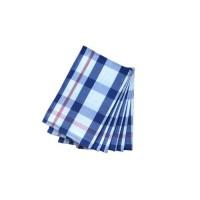 Lot de 6 torchons Christelle - 100% coton - 50x70 cm - Quadrillage bleu et blanc