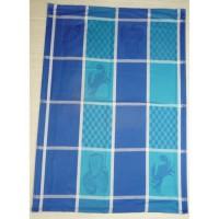 Lot de 6 torchons de cuisine Coralie fruits de mer bleue 50x70 cm
