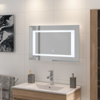 LOUNGITUDE Miroir rétro-éclairé - Cadre métal - L 80 cm - LED2