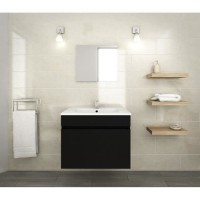 LUNA Ensemble salle de bain simple vasque L 60 cm - Noir mat