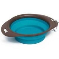 M PETS Gamelle pliable On The Road L - 30 x 23 x 7.4 cm - 1230 ml -  Bleu turquoise et marron