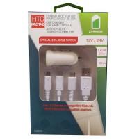 M500 Chargeur AC 12 / 24 V 2,1 A pour console de jeu avec 3 adaptateurs compatibles Nintendo 2DS / 3DS / Switch - Câbles 1 m