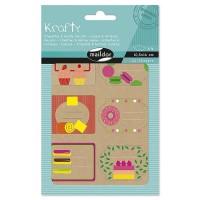MAILDOR Pochette étiquettes décoratives Fruits - 4 planches de 2 visuels - Assortis