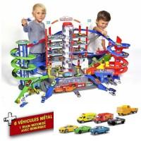 MAJORETTE - Super City Garage 128 cm largeur 78cm hauteur + 6 voitures et 1 train