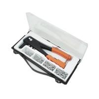 MANNESMANN Kit de pince a riveter + 100 rivets + 4 embouts - Orange