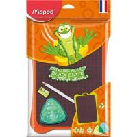 MAPED Ardoise double face noire + 1 crayon craie + 1 tailles-crayons + 1 boîte éponge