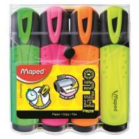 MAPED Pochette de 4 Surligneurs Peps fluo - Couleur assorties