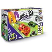 MICRO WHEELS Pack de micro voiture wheels super - 2 loops + 2 garages + 4 voitures - Pour faire la course et des loopings