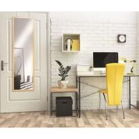 Miroir de porte avec crochets 30 x 120 cm - MDF - Décor Bois cérusé