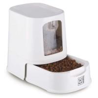 MPETS Distributeur de croquettes Lena avec couvercle - Blanc - Pour chien et chat
