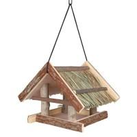 NATURAL LIVING Mangeoire pour oiseaux 25 × 25 × 25 cm naturel