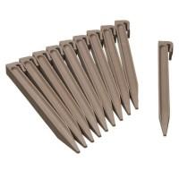 NATURE Sachet de 10 ancres pour bordure de jardin en polypropylene - H 26,7 x 1,9 x 1,8 cm - Beige taupe