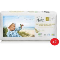 NATY - Lot de 2 paquets de couches Taille 4 Maxi 7-18 kg 44 pcs