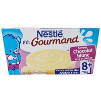 NESTLÉ P'tit Gourmand Saveur chocolat blanc - 4x100 g - Des 8 mois