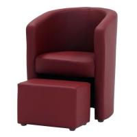 NUNO Fauteuil cabriolet + pouf en simili rouge - L 59 x P 63 x H 77 cm