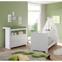 OLIVIA Ensemble lit bébé 70x140 cm et commode avec plan a langer mélaminé blanc