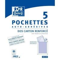 OXFOR 5 Pochettes Dos carton renforcé auto-adhésives - 26 cm x 1 cm x 33 cm
