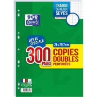 OXFORD - Copies doubles perforées 300 pages seyes - 90g