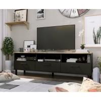 OXFORD Meuble TV décor noir et chene - Style industriel - L 158 x P 40 x H 47 cm