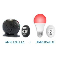 Pack amplicall 20-6 GEEMARC - Composé de l'AC20: sonnette et amplificateur de sonnerie + l'AC6 : ampoule intelligente