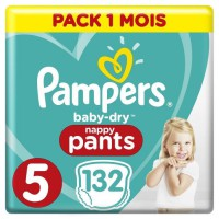 PAMPERS Baby-Dry Pants Taille 5, 12-17kg, 132 Couches - Pack 1 Mois