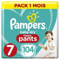 PAMPERS Baby-Dry Pants Taille 7, 17+kg, 104 Couches Pack 1 Mois