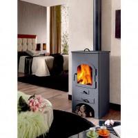 PANADERO Dublin 11,5 Kw Poele a bois en acier - Flamme verte 5 étoiles - Rendement:77 % - Buches 42cm - Four