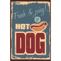 Panneau déco Hot Dog - 20x30 cm - MDF - Rouge et beige
