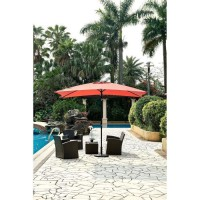 Parasol droit inclinable - Aluminium, 6 baleines en acier et polyester 160 g/m² - 3 x 2 m - Rouge