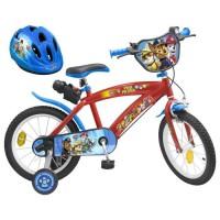 """PAT'PATROUILLE Vélo 16"""" + Casque - Enfant - Rouge et bleu"""