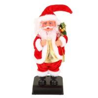 Personnage de Noël : Pere Noël Jingle bells en plastique et polyester - H 28 cm - Rouge et blanc