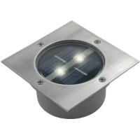 RANEX Spot solaire LED Carlo - Carré encastrable - Acier