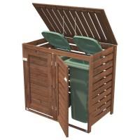 Range poubelle BNVPI - Forme rectangulaire - 136 x 82 cm - Sapin du Nord - Bois massif - Coloris : bois traité marron