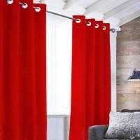 Rideau Velvet a oeillets - 140 x 250 cm - Rouge