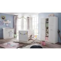 RONJA Chambre Bébé Complete 3 Pieces : Lit 70x140 cm + Armoire + Commode