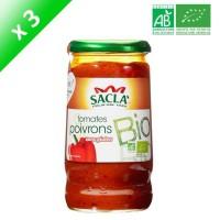 SACLA Sauce tomates et poivrons - 370 ml x3 - Bio