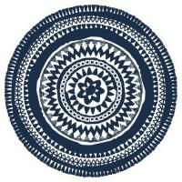 Set de table vinyle rond - 38x38 cm - Bleu et blanc