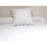 SOLEIL D'OCRE Couvre Lit Boutis 180x220 cm + 1 taie d'oreiller - Blanc