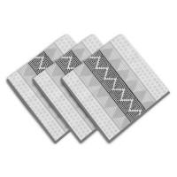 SOLEIL D'OCRE Lot de 3 servietes Inca - 100% coton - 45 x 45 cm - Blanc