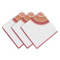 SOLEIL D'OCRE Lot de 3 servietes Mandala - 100% coton - 45 x 45 cm - Orange